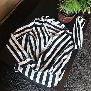 French Inspired Minimalist Blouse Stripes White M